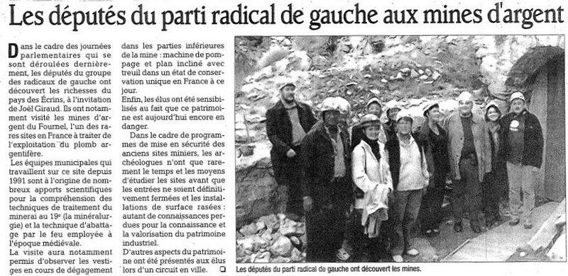 Les députés PRG aux mines d'argent DLoct09