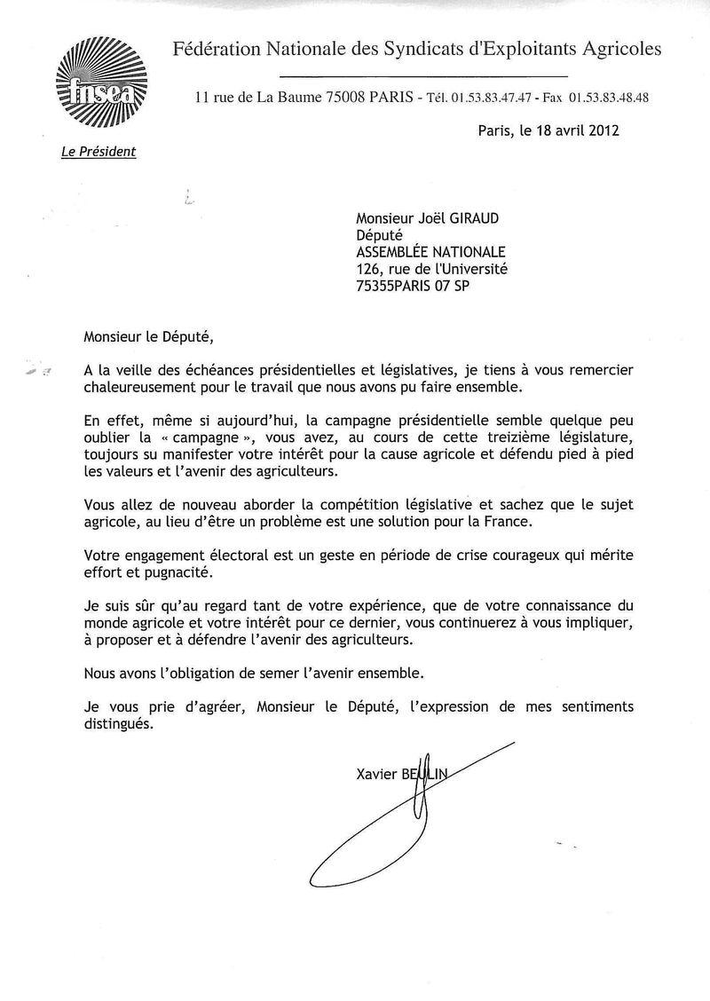 FNSEA remerciements Joël 180412