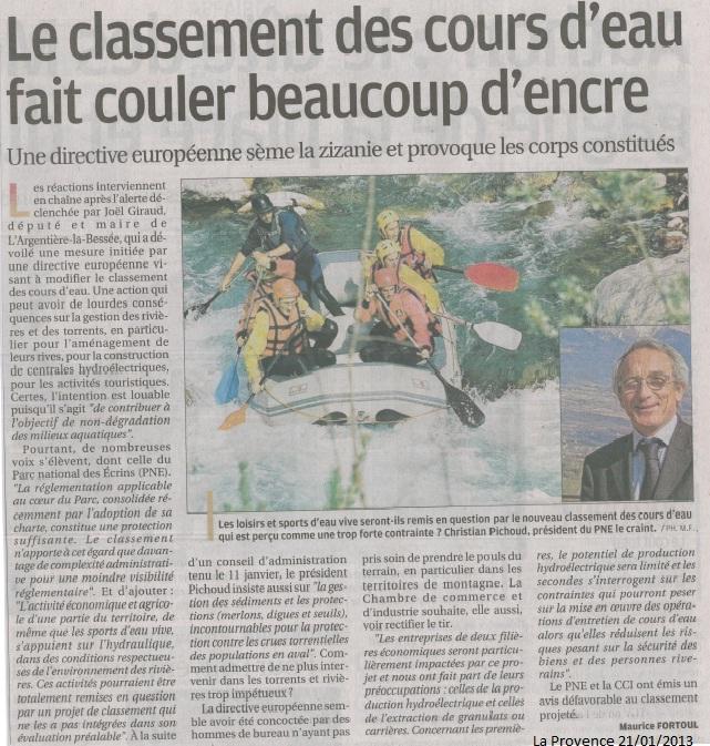 Article classement des cours d'eau La Provence 210113