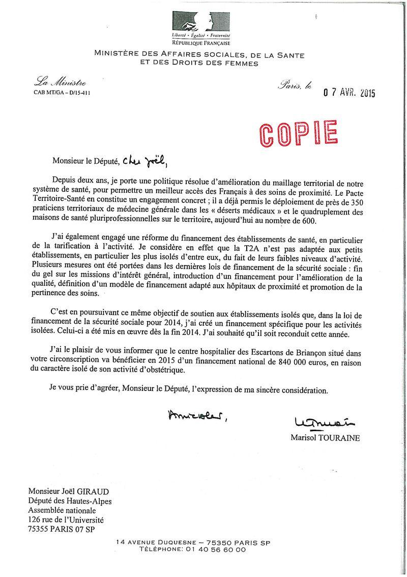 Marisol TOURAINE financement hôpital Briançon070415