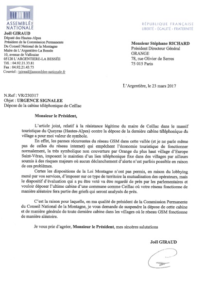 Lettre au PDG d'orange ceillac