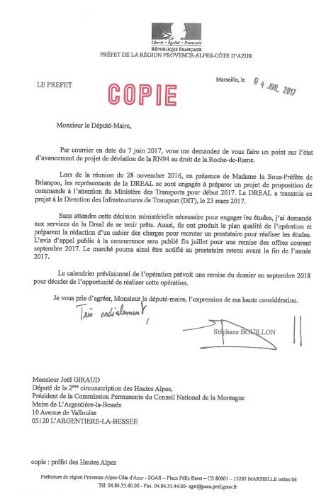 Déviation de la RDR réponse du Préfet de Région