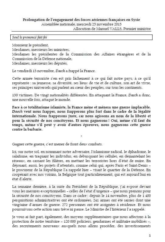 Discours M VALLS prolongation engagement forces aériennes françaises en Syrie 251115