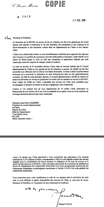 Courrier du PM Chambon 220216
