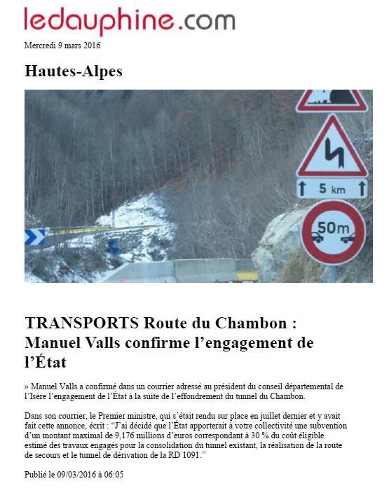 Article Web dauphiné libéré 9 mars 2016