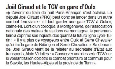 DL 310316 JIRAUD et le  TGV en gare d'OULX
