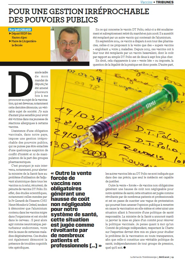 TROMBINOSCOPE article JGIRAUD vaccination avril 2016
