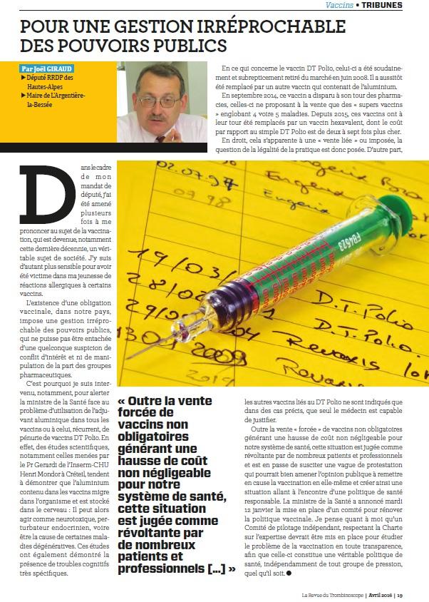 TROMBINOSCOPE article JGIRAUD vaccination avril 2016