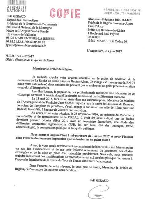 Déviation de la RDR lettre de Joël Giraud