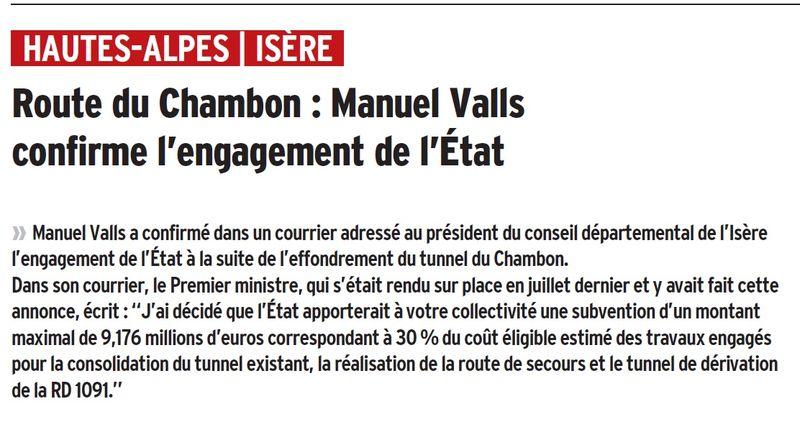 Article dauphiné libéré Chambon 9 mars 2016