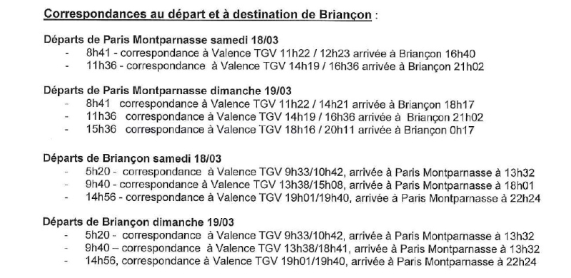 Horaires SNCF  18 19  mars 2017