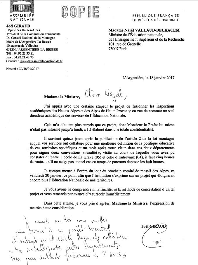 Copie courrier JGIRAUD à Ministre EN fusion IA 0405 le 180117